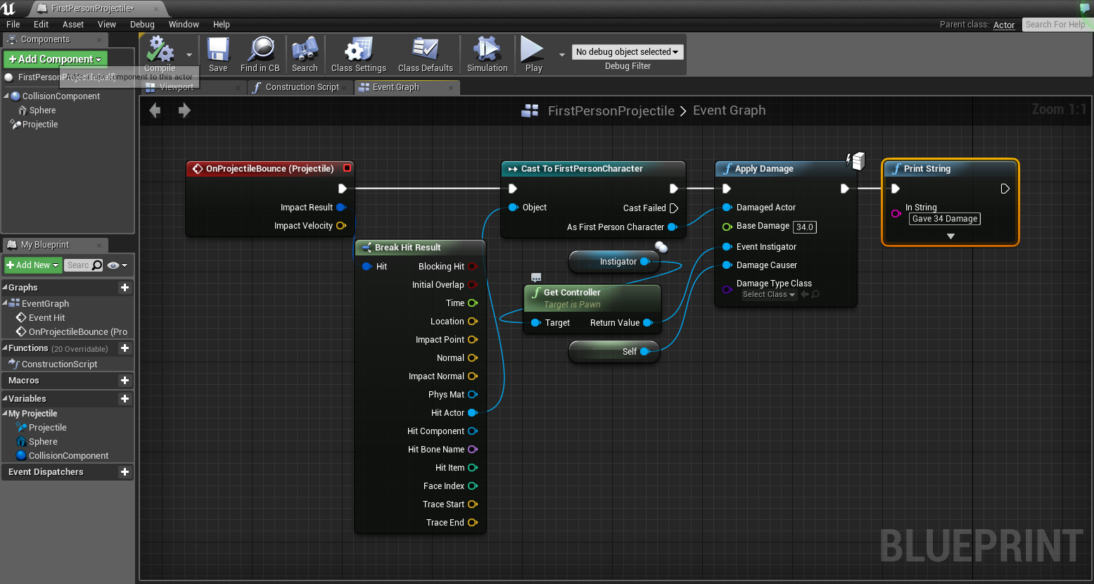 Mipmap games in the firstpersonprojectile blueprint click the projectilecomponent and in the properties window add a onprojectilebounce event handler malvernweather Gallery